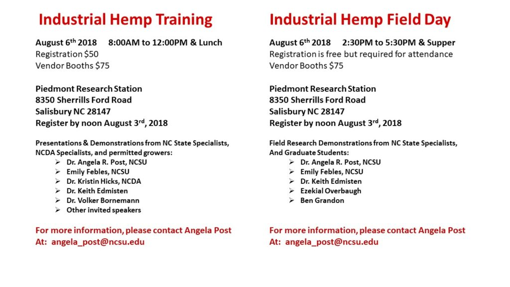 Industrial Hemp Field Day flyer images