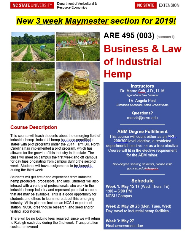 Flyer describing Business & Law of Industrial Hemp course