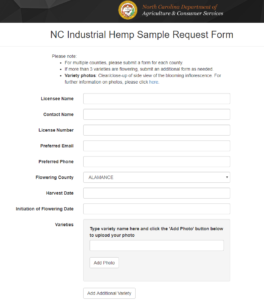 Cover photo for New Online Industrial Hemp Sampling Request Form