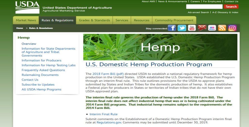 USDA Hemp webpage