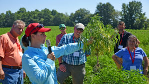 NC State Extension specialist Dr. Angela Post shows agents and directors a sample of a diseased hemp plant during a tour of Broadway Hemp's farm in Harnett County, North Carolina.